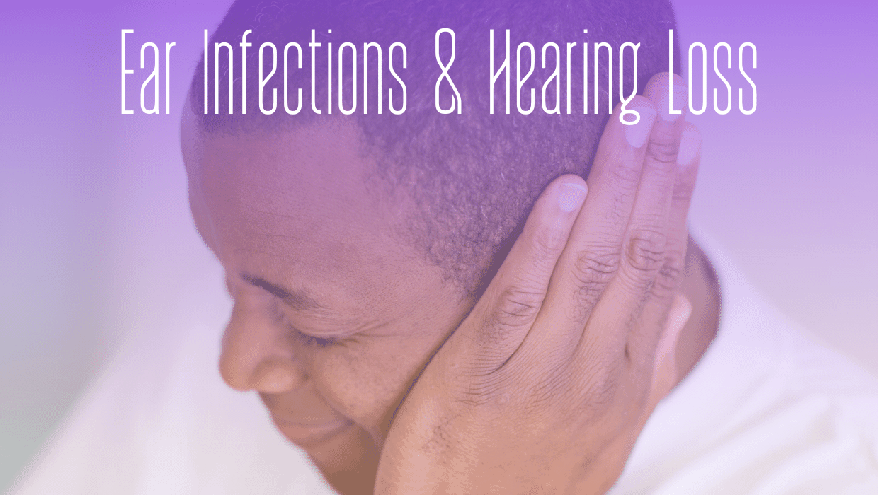 Man covers ear due to ear infection